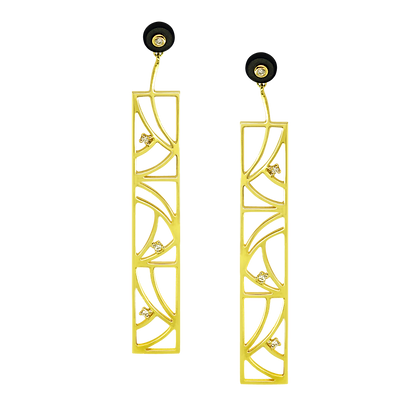 Coïncidence Boucles d'oreilles en or 18k serties d'onyx et diamants