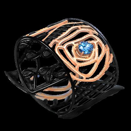 Labyrinthe de l'Âme Manchette en or 18k sertie de saphir bleu et diamants