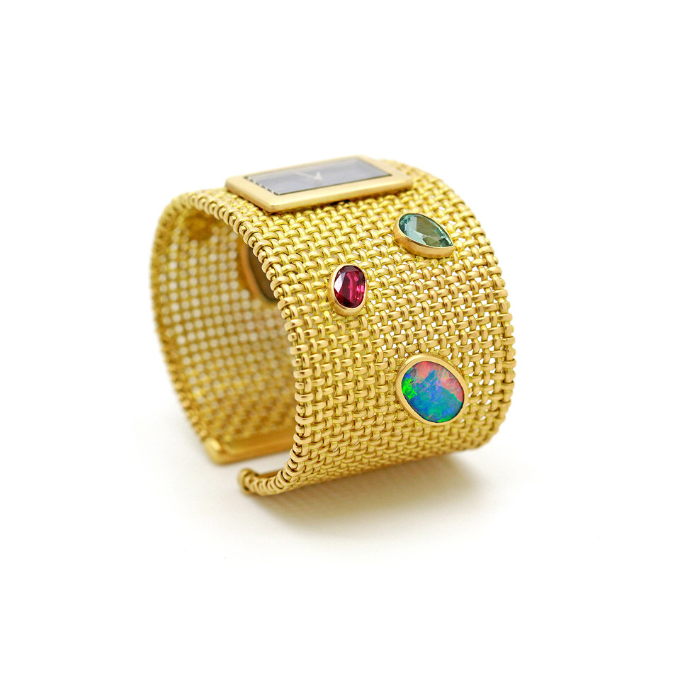 """La Montre-Bracelet """"Goralska"""" en or jaune 18k sertie de diamants et pierres de couleur (Demande Sur-Mesure)"""