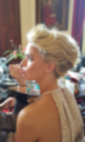 occasion hairstyles Rolled updo Blonde hair make up Hair Up lady in dress