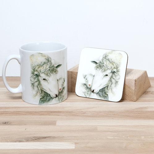 Mothers Love - Sheep and Lamb Mug and Coaster Set