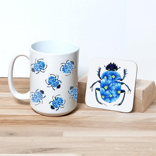 Blue Blossom Beetle 15oz Mug and Coaster