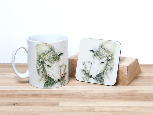 Mother and Lamb Mug and Coaster