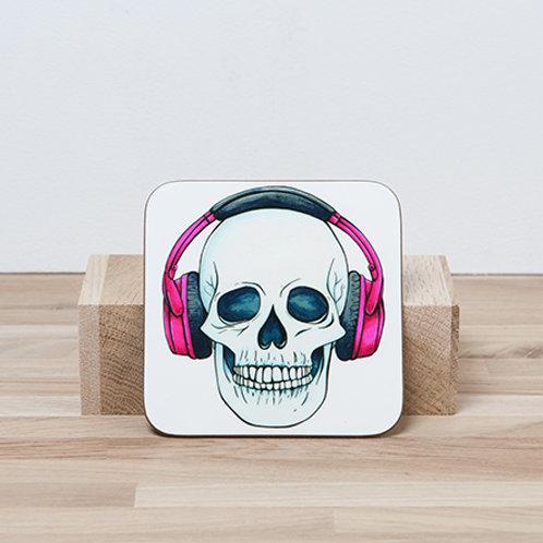 Pink Headphones Coaster