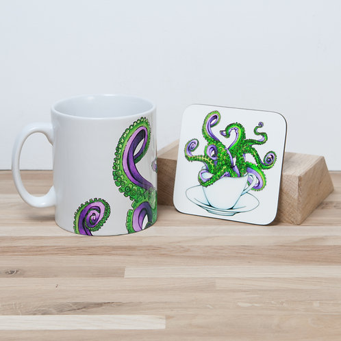 Octocup Purple Mug and Coaster Set