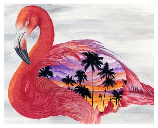 Tropical Flamingo Paradise - 8 x 10 +0.2