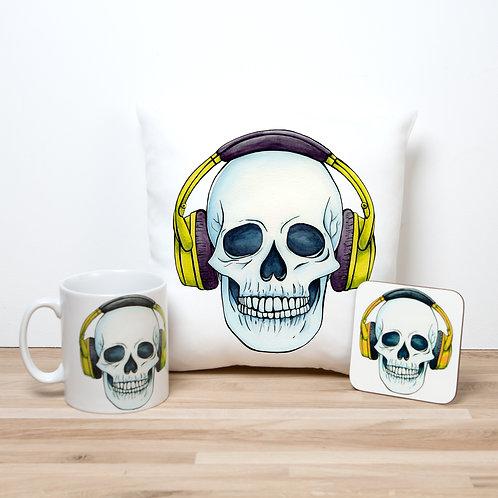 Yellow Headphones Pillow Set