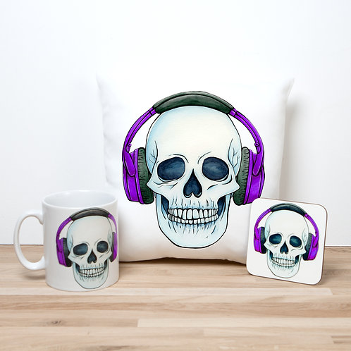 Purple Headphones Pillow Set