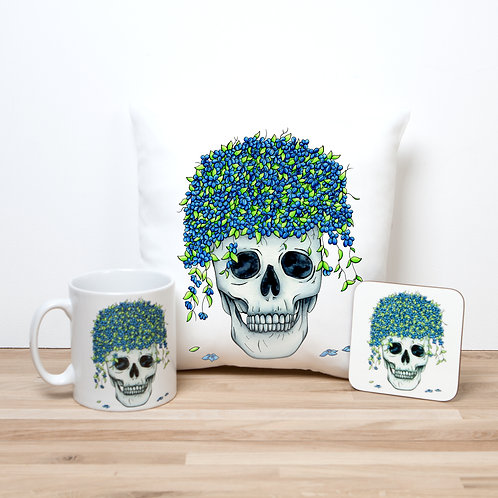 Blue Flower Pot Pillow Set