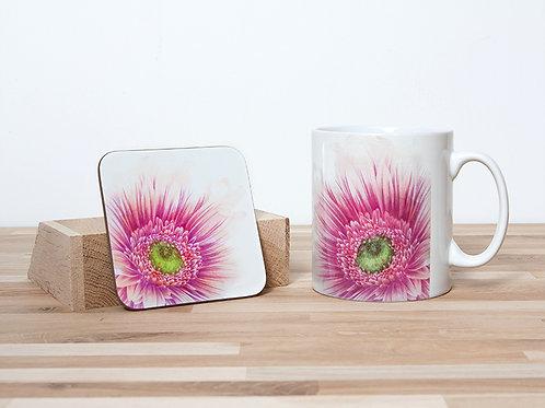 Pink Daisy Mug and Coaster