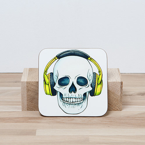 Yellow Headphones Coaster