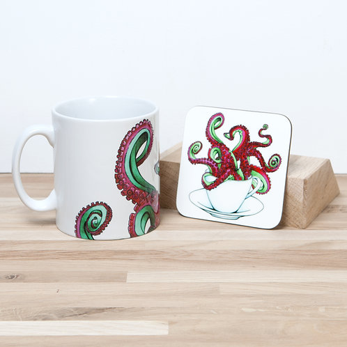 Red Octocup Mug and Coaster Set