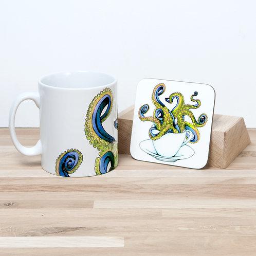Yellow Octocup Mug and Coaster Set