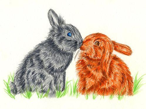 Rabbits In Love - Original