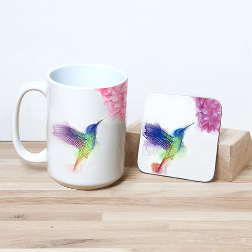 Hummingbird 15oz Mug and Coaster