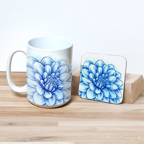 Blue Blossom 15oz Mug and Coaster