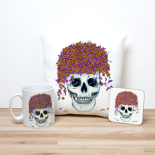 Orange Flower Pot Pillow Set