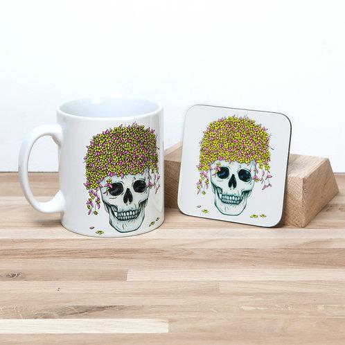 Yellow Flower Pot Mug and Coaster Set