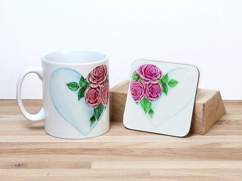 Heart Of Roses Mug and Coaster