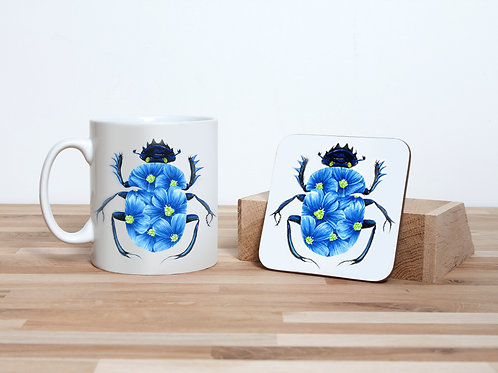 Blue Blossom Beetle Mug and Coaster