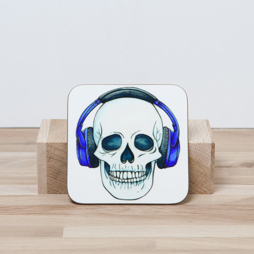 Blue Headphones Coaster
