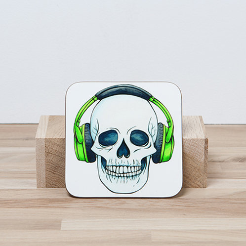 Green Headphones Coaster