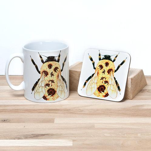 Sunflower Bumblebee Mug and Coaster Set