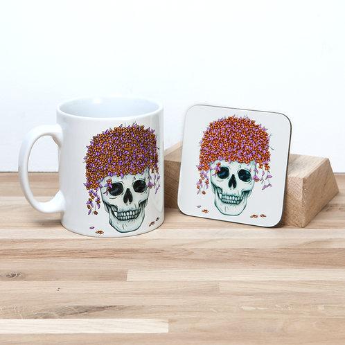 Orange Flower Pot Mug and Coaster Set
