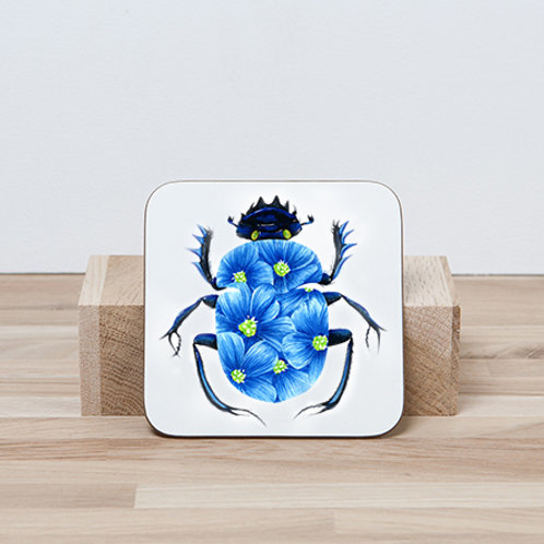 Blue Blossom Beetle Coaster
