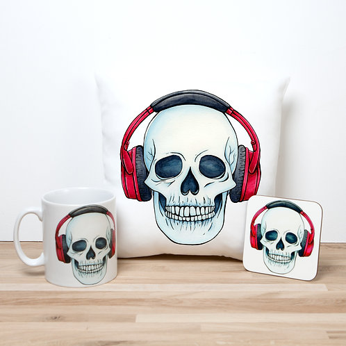 Red Headphones Pillow Set