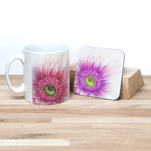 Pink Daisy Mug and Coaster Set