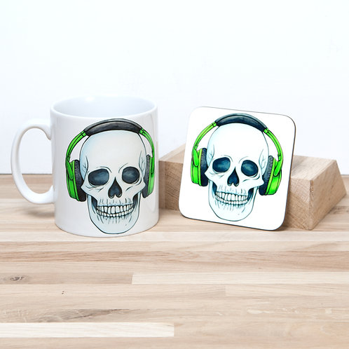 Green Headphones Mug and Coaster Set