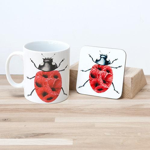 Poppy Ladybug Mug and Coaster