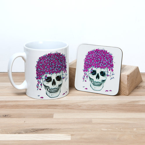 Pink Flower Pot Mug and Coaster Set