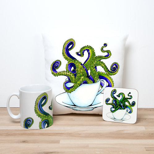 Yellow Octocup Pillow Set