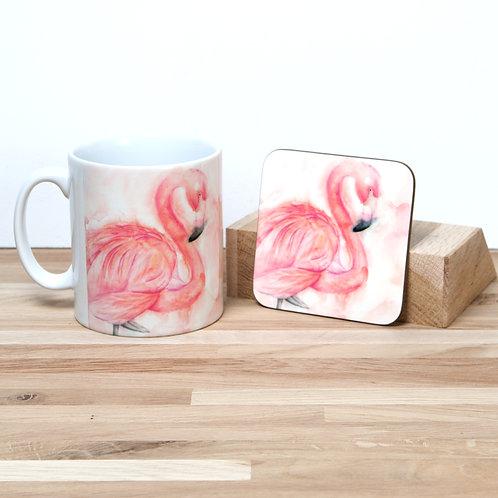 Pink Flamingo Mug and Coaster Set