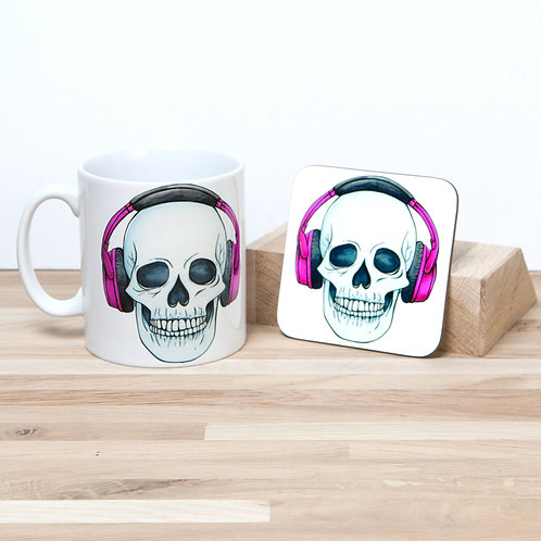 Pink Headphones Mug and Coaster Set