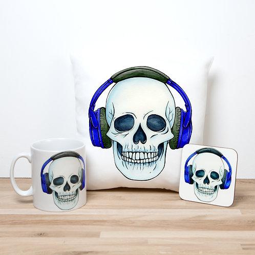 Blue Headphones Pillow Set