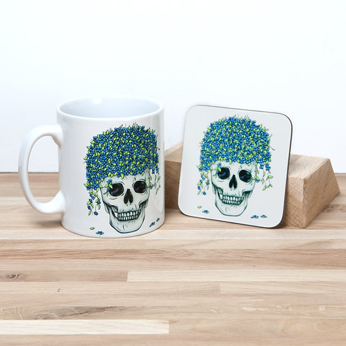 Blue Flower Pot Mug and Coaster Set