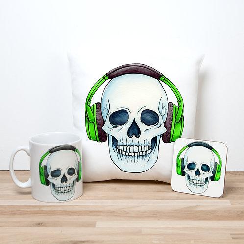 Green Headphones Pillow Set