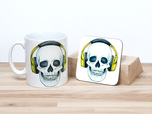 Headphones Mug and Coaster