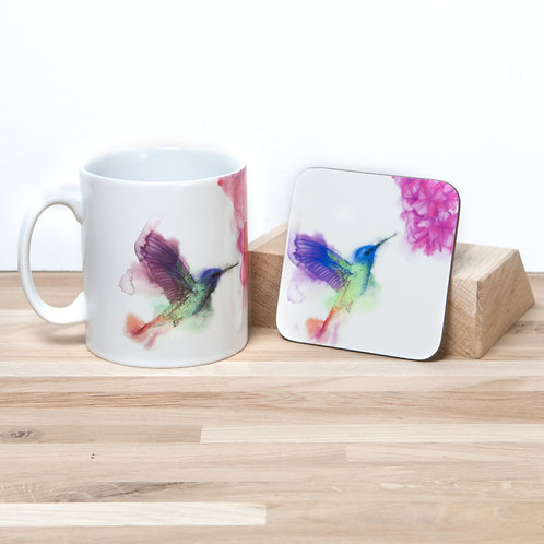 Hummingbird Mug and Coaster Set