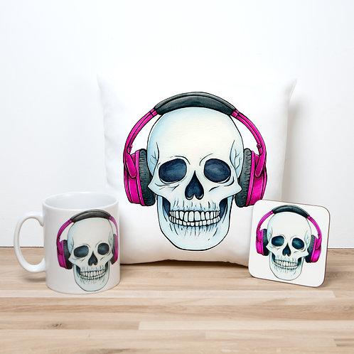 Pink Headphones Pillow Set