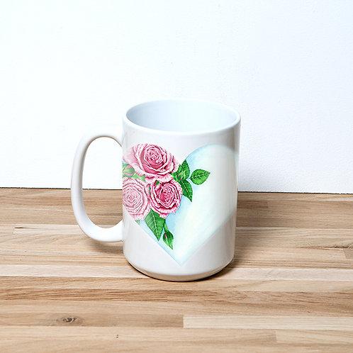 Heart Of Roses 15oz Mug and Coaster