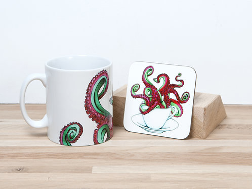 Red Octocup Mug and Coaster