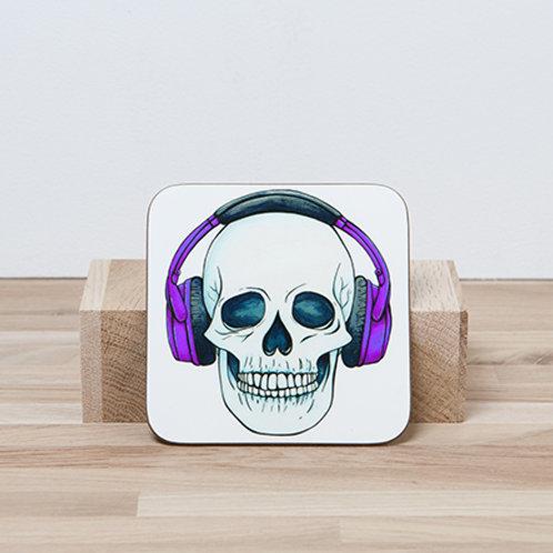 Purple Headphones Coaster