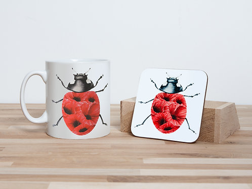 Poppy Ladybug Mug and Coaster