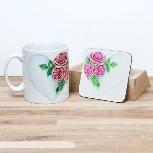 Heart Of Roses Mug and Coaster