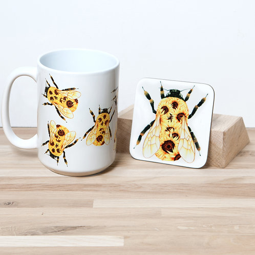 Sunflower Bumblebee Mug and Coaster Set