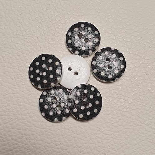 10-delige set zwart/wit knopen - Doorsnede 18mm